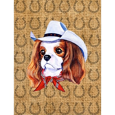 Caroline's Treasures Dog Country Lucky Horseshoe 2-Sided Garden Flag; Cavalier Spaniel