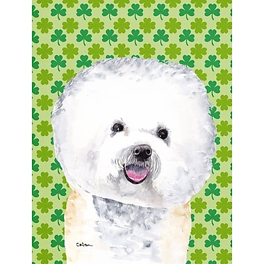 East Urban Home St. Patrick's Day Shamrock 2-Sided Garden Flag; Bichon Frise 1