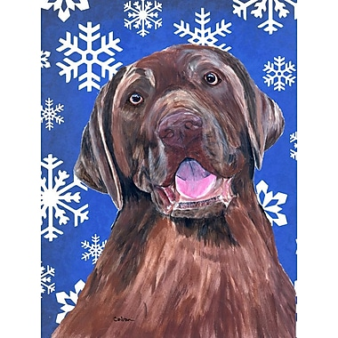 East Urban Home Winter Snowflakes Holiday 2-Sided Garden Flag; Labrador (Brown)