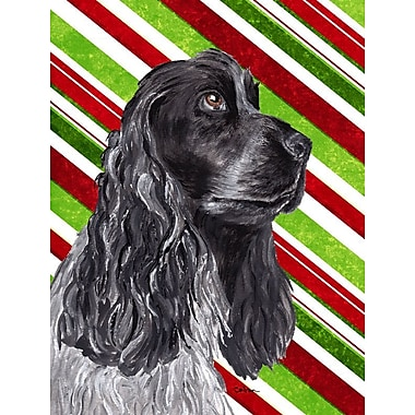 Caroline's Treasures Candy Cane Christmas 2-Sided Garden Flag; Cocker Spaniel (Black and Gary)