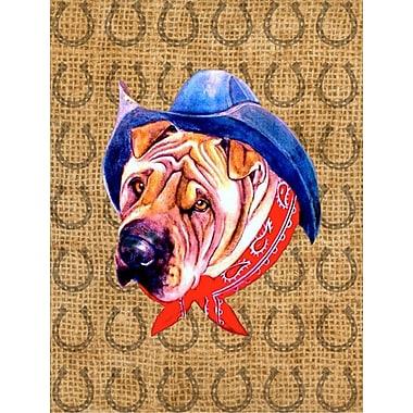 Caroline's Treasures Dog Country Lucky Horseshoe 2-Sided Garden Flag; Shar Pei Dog