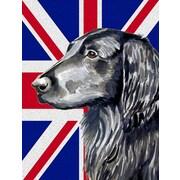 East Urban Home English Union Jack British Flag 2-Sided Garden Flag; Flat Coated Retriever