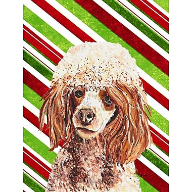 Caroline's Treasures Candy Cane Christmas 2-Sided Garden Flag; Poodle (Cream and Brown)