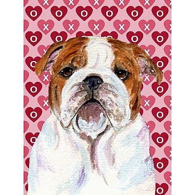 Caroline's Treasures Cooper Love and Hearts Boxer 2-Sided Garden Flag; Bulldog (Brown and White)