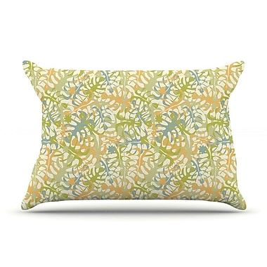 East Urban Home Julia Grifol 'Warm Tropical Leaves' Pillow Case
