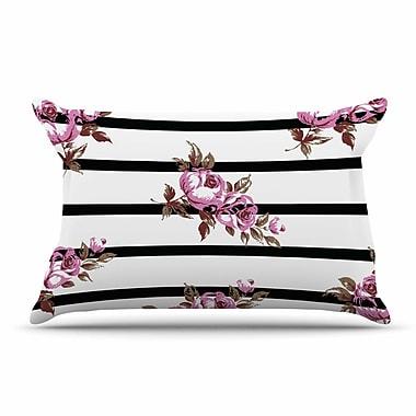 East Urban Home NL Designs 'Purple Floral Stripes' Pillow Case