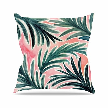 East Urban Home Crystal Walen Lush Palm Leaves Outdoor Throw Pillow; 16'' H x 16'' W x 5'' D