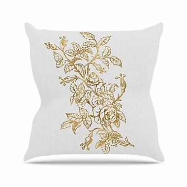 East Urban Home 888 Design Golden Vintage Rose Floral Digital Outdoor Throw Pillow