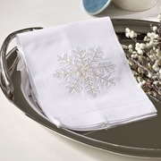 Embroidered Snowflake Design Holiday Hemstitched Linen Cotton Guest Hand Towel (Set of 4)