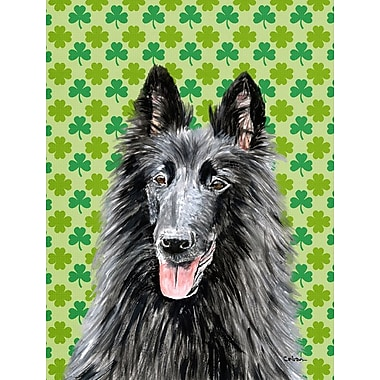 Caroline's Treasures St. Patrick's Day Shamrock House Vertical Flag; Belgian Sheepdog