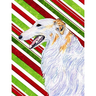 Caroline's Treasures Candy Cane Holiday Christmas House Vertical Flag; Borzoi