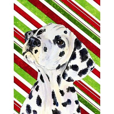 Caroline's Treasures Candy Cane Holiday Christmas House Vertical Flag; Dalmatian (White & Black)