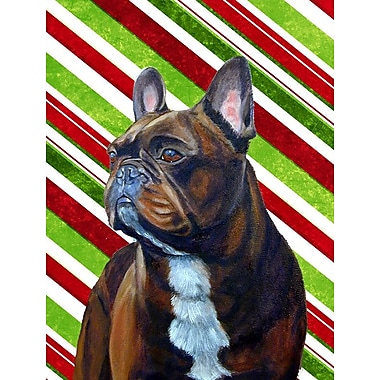 Caroline's Treasures Candy Cane Holiday Christmas House Vertical Flag; French Bulldog 1
