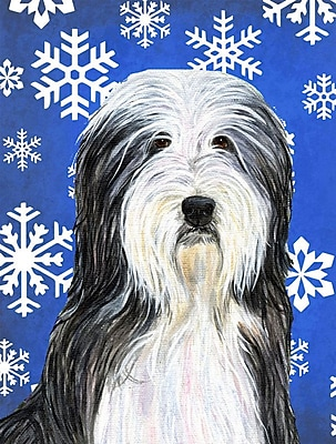 East Urban Home Winter Snowflakes Holiday House Vertical Flag; Bearded Collie (White & Black)