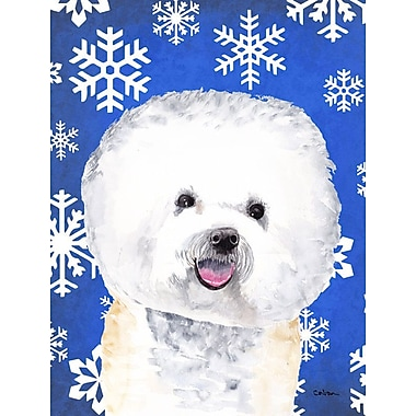 East Urban Home Winter Snowflakes Holiday House Vertical Flag; Bichon Frise 1