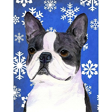 East Urban Home Winter Snowflakes Holiday House Vertical Flag; Boston Terrier (White & Gray)