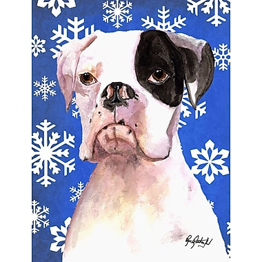 East Urban Home Winter Snowflakes Holiday House Vertical Flag; Boxer (White & Blush)