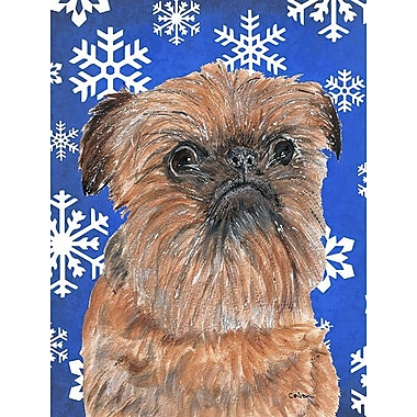 East Urban Home Winter Snowflakes Holiday House Vertical Flag; Brussels Griffon 4