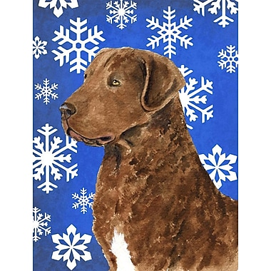 East Urban Home Winter Snowflakes Holiday House Vertical Flag; Chesapeake Bay Retriever