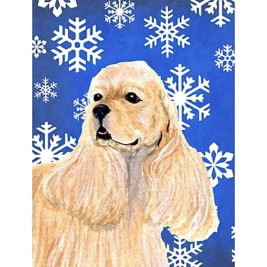 East Urban Home Winter Snowflakes Holiday House Vertical Flag; Cocker Spaniel (Beige)