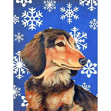 East Urban Home Winter Snowflakes Holiday House Vertical Flag; Dachshund 5