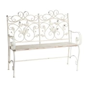 One Allium Way Pettey Wooden Top Metal Garden Bench