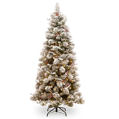 Darby Home Co Slim 90'' Green Pine Artificial Christmas Tree w/ 500 Clear Lights w/ Stand