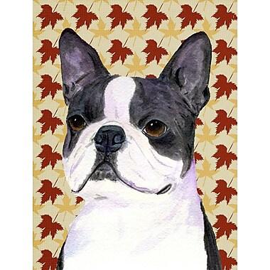 Caroline's Treasures Fall Leaves 2-Sided Garden Flag; Boston Terrier (White and Grey)