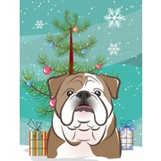 Caroline's Treasures Under The Christmas Tree Vertical Flag; Bulldog (Brown & White Vertical Flag)