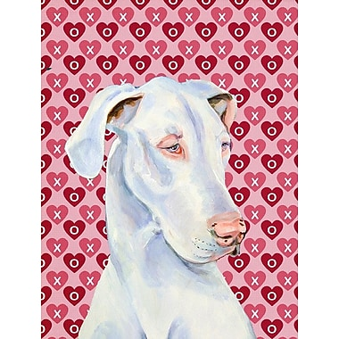 Caroline's Treasures Hearts Love and Valentine's Day 2-Sided Garden Flag; Great Dane (White )