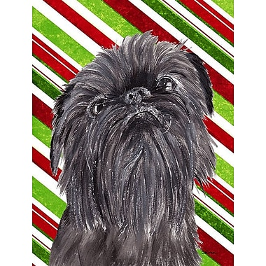 Caroline's Treasures Candy Cane Christmas House Vertical Flag; Brussels Griffon (Gray)