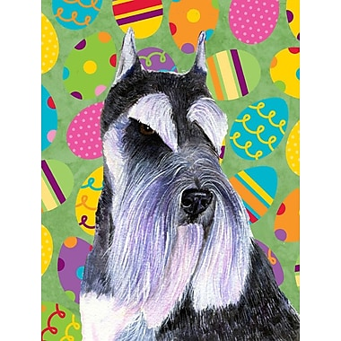 Caroline's Treasures Easter Eggtravaganza 2-Sided Garden Flag; Schnauzer (Black and Purple)