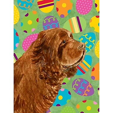 Caroline's Treasures Easter Eggtravaganza 2-Sided Garden Flag; Sussex Spaniel