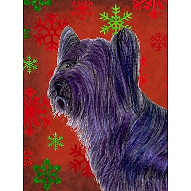 Caroline's Treasures Red and Green Snowflakes Holiday Christmas 2-Sided Garden Flag; Skye Terrier
