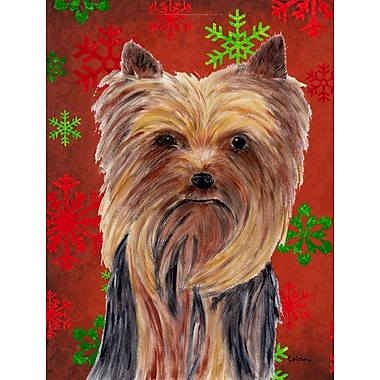 Caroline's Treasures Red and Green Snowflakes Holiday Christmas 2-Sided Garden Flag; Yorkie 1
