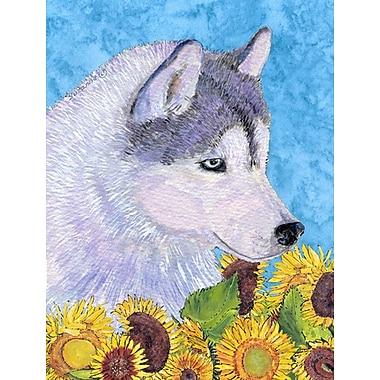 East Urban Home Dog and Sunflowers 2-Sided Garden Flag; Siberian Husky