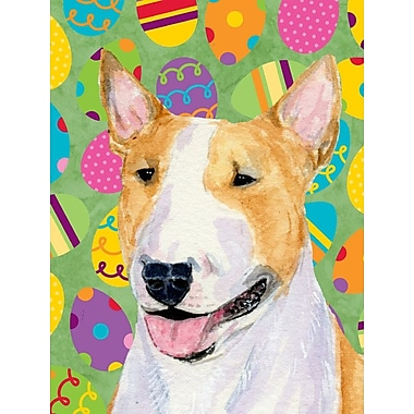 Caroline's Treasures Easter Eggtravaganza House Vertical Flag; Bull Terrier