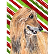 Caroline's Treasures Candy Cane Holiday Christmas House Vertical Flag; Afghan Hound