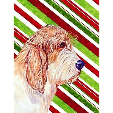 Caroline's Treasures Candy Cane Holiday Christmas House Vertical Flag; Petit Basset Griffon Vendeen