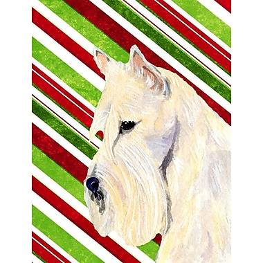 Caroline's Treasures Candy Cane Holiday Christmas House Vertical Flag; Scottish Terrier (Beige)
