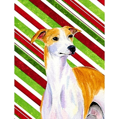 Caroline's Treasures Candy Cane Holiday Christmas House Vertical Flag; Whippet