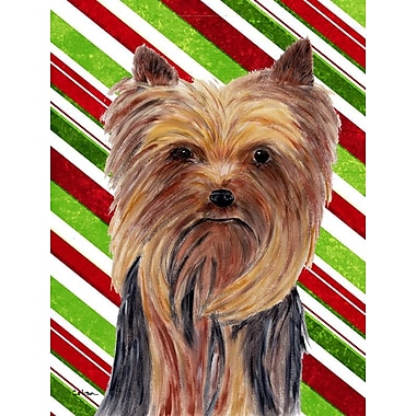 Caroline's Treasures Candy Cane Holiday Christmas House Vertical Flag; Yorkie 1