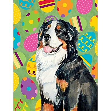 Caroline's Treasures Easter Eggtravaganza House Vertical Flag; Bernese Mountain Dog