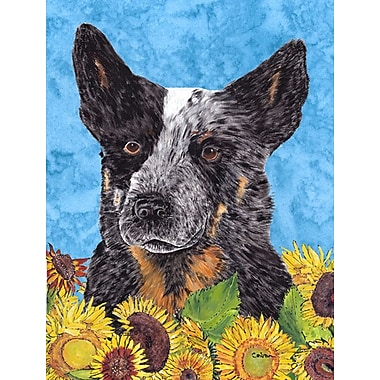 East Urban Home Dog and Sunflower House Vertical Flag; Australian Cattle Dog