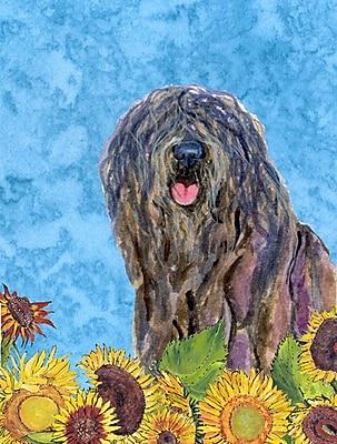 East Urban Home Dog and Sunflower House Vertical Flag; Bergamasco Sheepdog