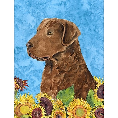 East Urban Home Dog and Sunflower House Vertical Flag; Curly Coated Retriever