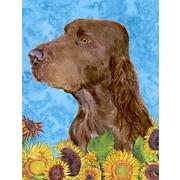 East Urban Home Dog and Sunflower House Vertical Flag; Field Spaniel
