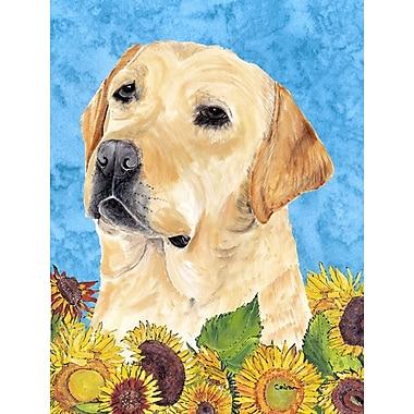 East Urban Home Dog and Sunflower House Vertical Flag; Labrador (Beige)