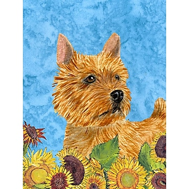 East Urban Home Dog and Sunflower House Vertical Flag; Norwich Terrier