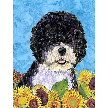 East Urban Home Dog and Sunflower House Vertical Flag; Portuguese Water Dog